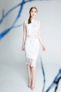White lace pencil skirt.