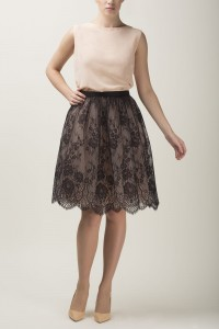 Lace and tulle skirt S067 light. Black and champagne