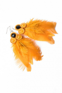 Earrings with feathers. Yellow