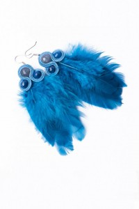 Earrings with feathers. Blue