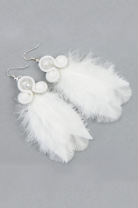 Long soutache earrings with white feathers. White stones