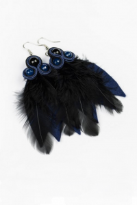 Earrings with feathers. Navy blue