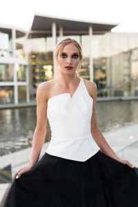 T073 white top with a peplum