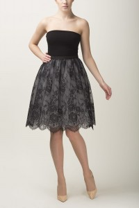 Lace and tulle skirt S067 light. Black and grey