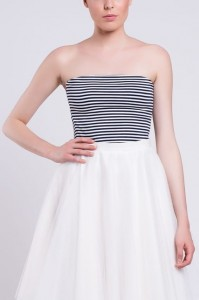 Jersey Top T063. Navy blue - white with narrow stripes