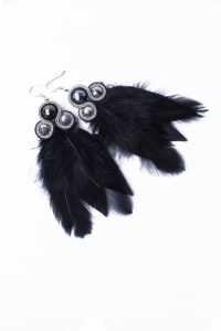Earrings with feathers. Black