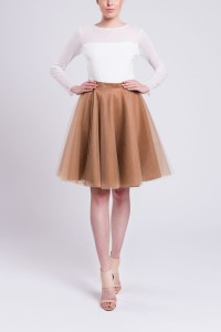 Circle tulle skirt S066. Toffee.
