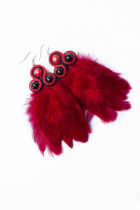 Earrings with feathers. Red
