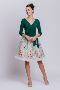 Voluminous tulle skirt with floral embroidery S114 short