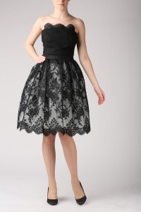 Grey and black lace skirt S031.