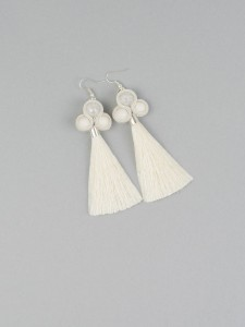 Earrings with Tassels. Ecru.