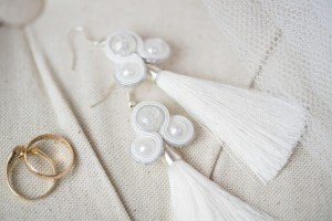 Earrings with Tassels. White.