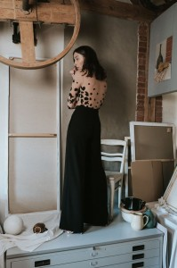 H039 Black elegant high waisted trousers