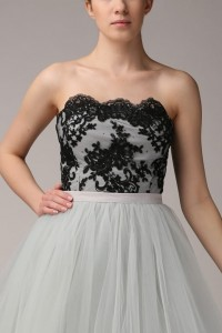 Lace corset T064. Grey and black.