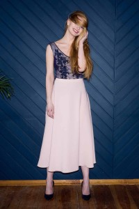 Tea-length champagne skirt S121