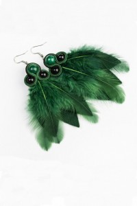 Earrings with feathers. Bottle green.