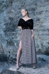 Skirt with high slit and woolen belt S146