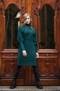 Green dress with turtle neck