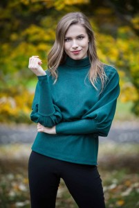Bottle green turtleneck blouse