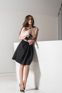 Black skirt with fringles S076