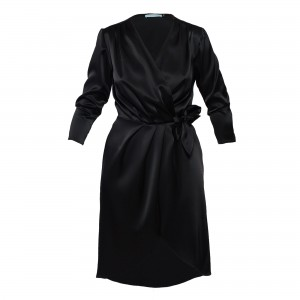 D107 black elegant envelope dress