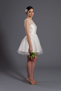 Shantung wedding dress D071 short. Ecru.