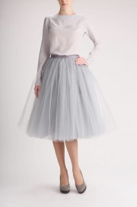 Whole outfit: silk blouse and tulle skirt