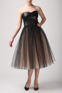 Tulle skirt with black dots S031 long. Champagne.