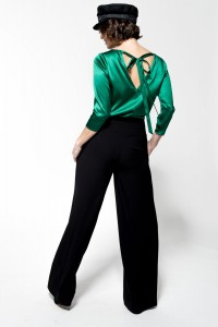 B106 silk blouse with binding on the back