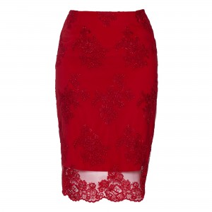 S111 lace pencil skirt. Red (1)