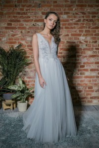 Grey wedding gown W014