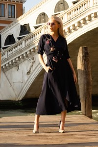 D128  Wrap navy blue dress with flowers
