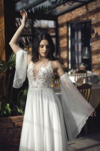 boho wedding dress with a slit