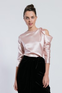 B122 silk blouse with asymmetrical bow tie