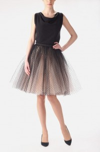 Champagne tutu skirt with black dots S031.