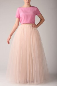 Maxi tulle skirt S031. Champagne