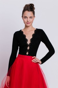 B120 blouse with deep decolletage and lace. Black.
