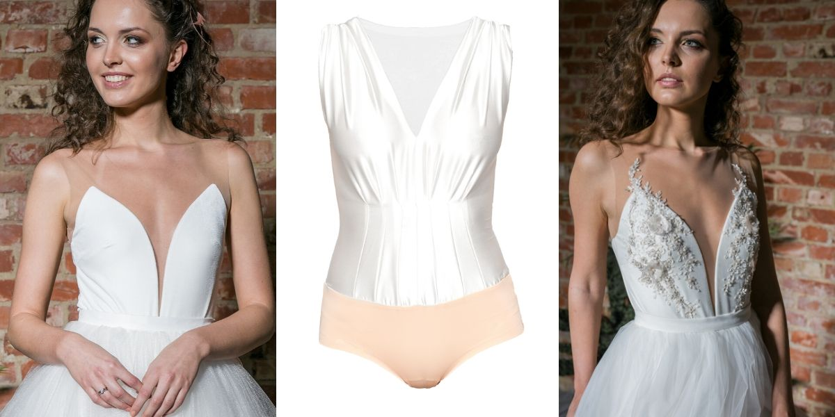 bridal bodysuits. wedding separate two piece dress